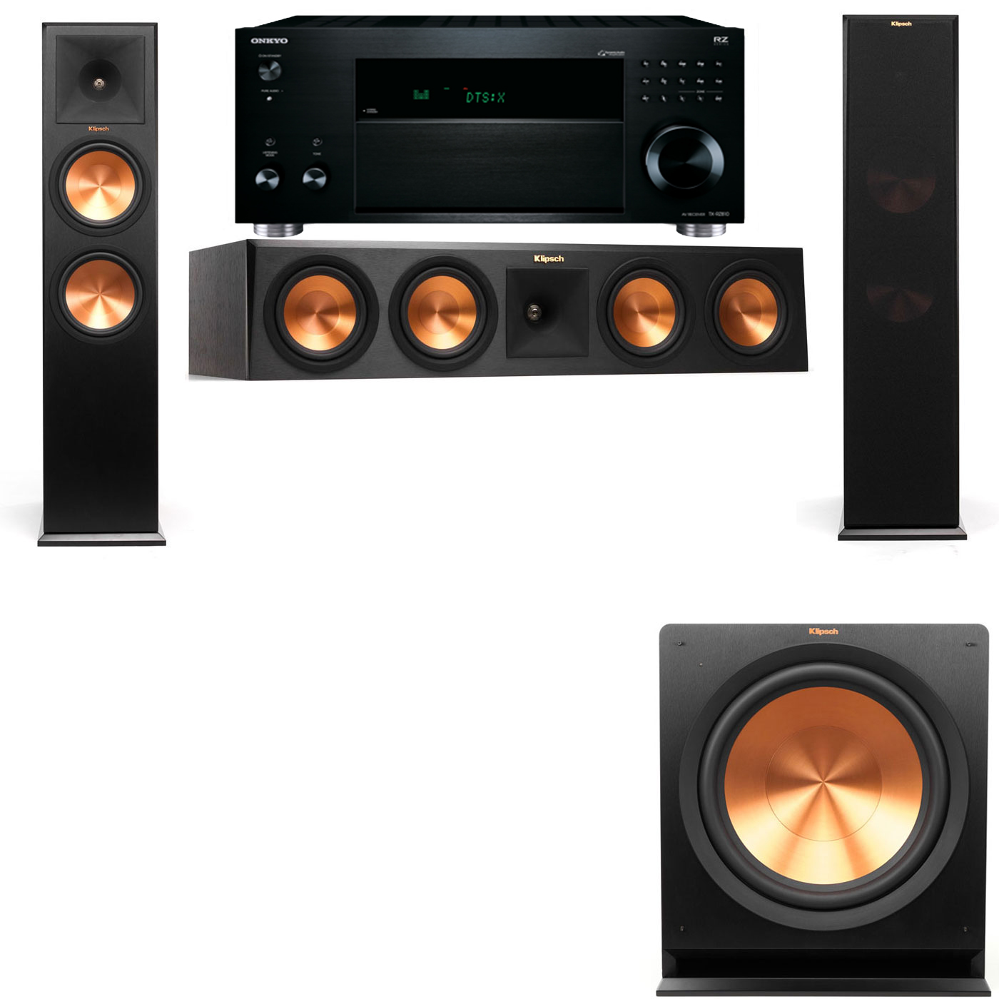 Klipsch RP-280F Tower Speakers-3.1-Onkyo TX-RZ810