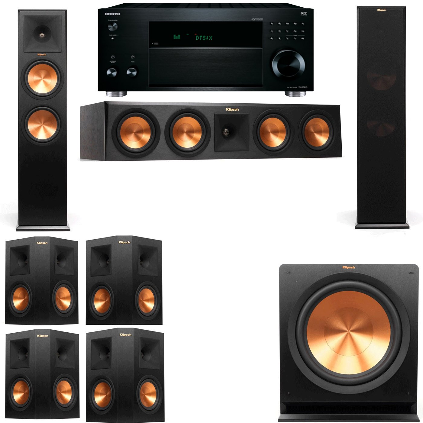 Klipsch RP-280F Tower Speakers-7.1-Onkyo TX-RZ810