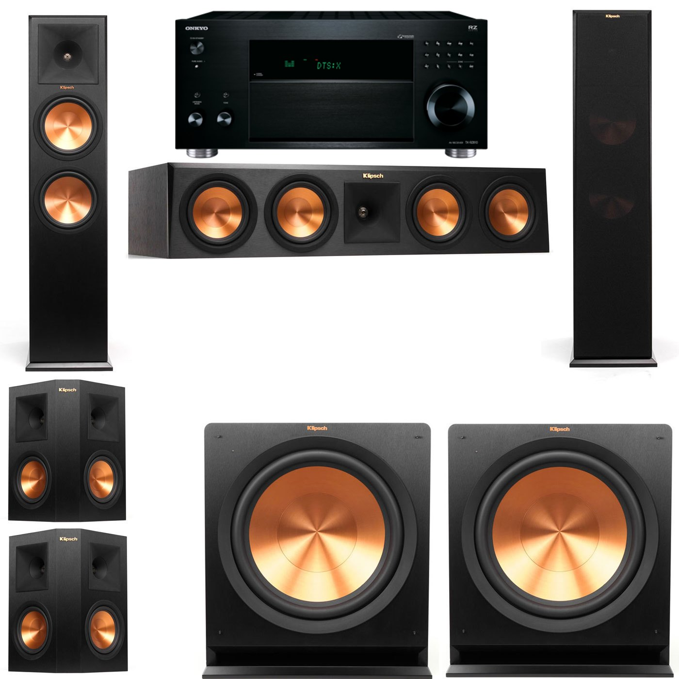 Klipsch RP-280F Tower Speakers-5.2-Onkyo TX-RZ810