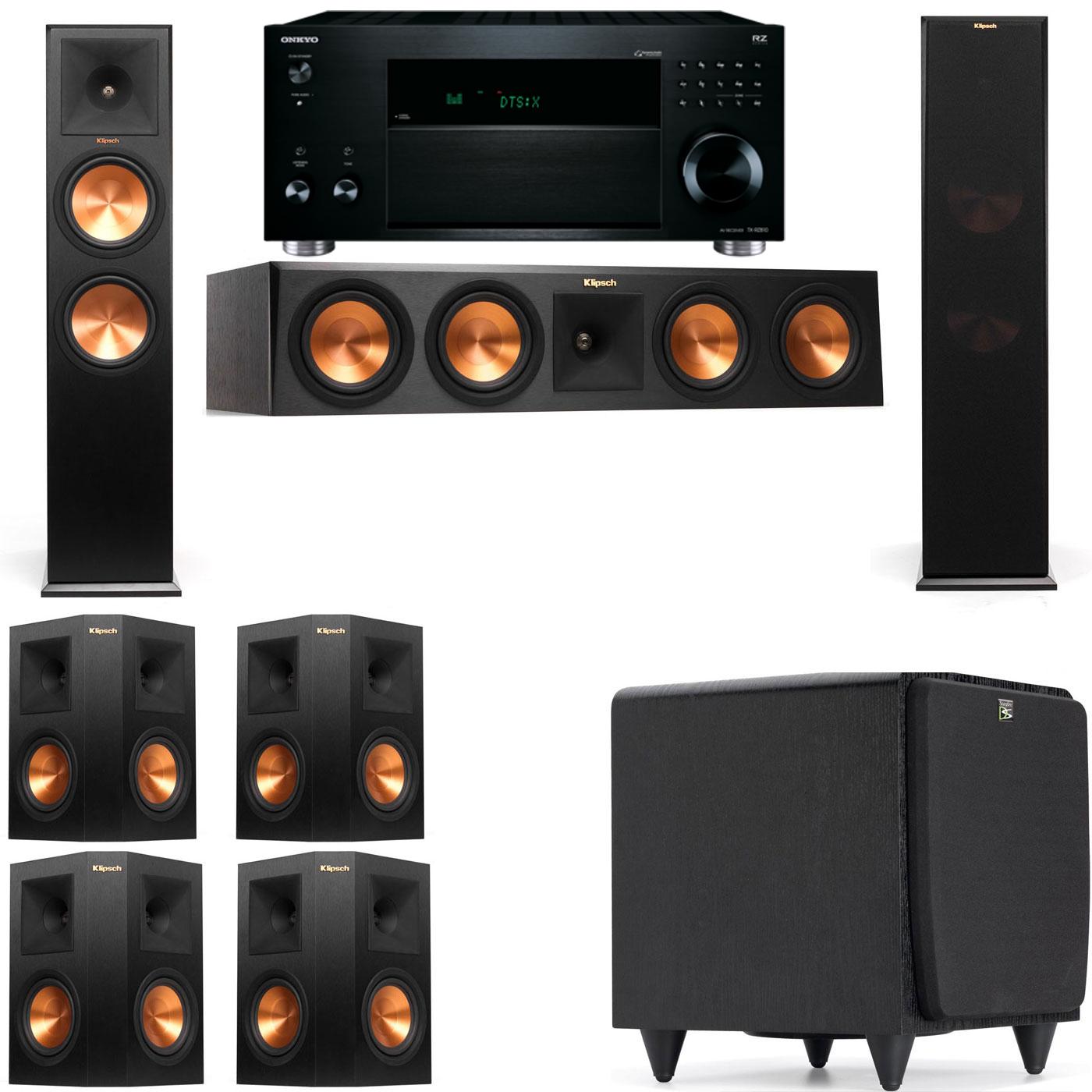 Klipsch RP-280F Tower Speakers-SDS12-7.1-Onkyo TX-RZ810