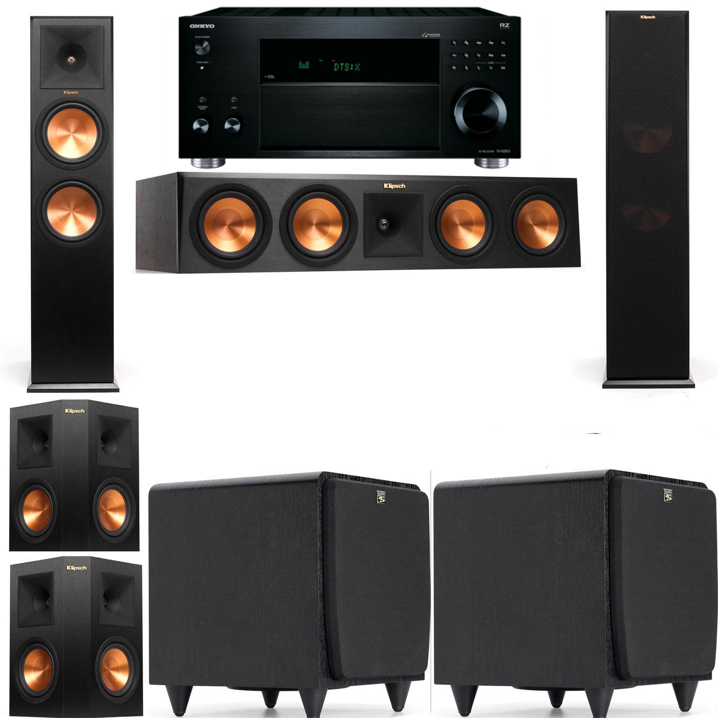 Klipsch RP-280F Tower Speakers-SDS12-5.2-Onkyo TX-RZ810
