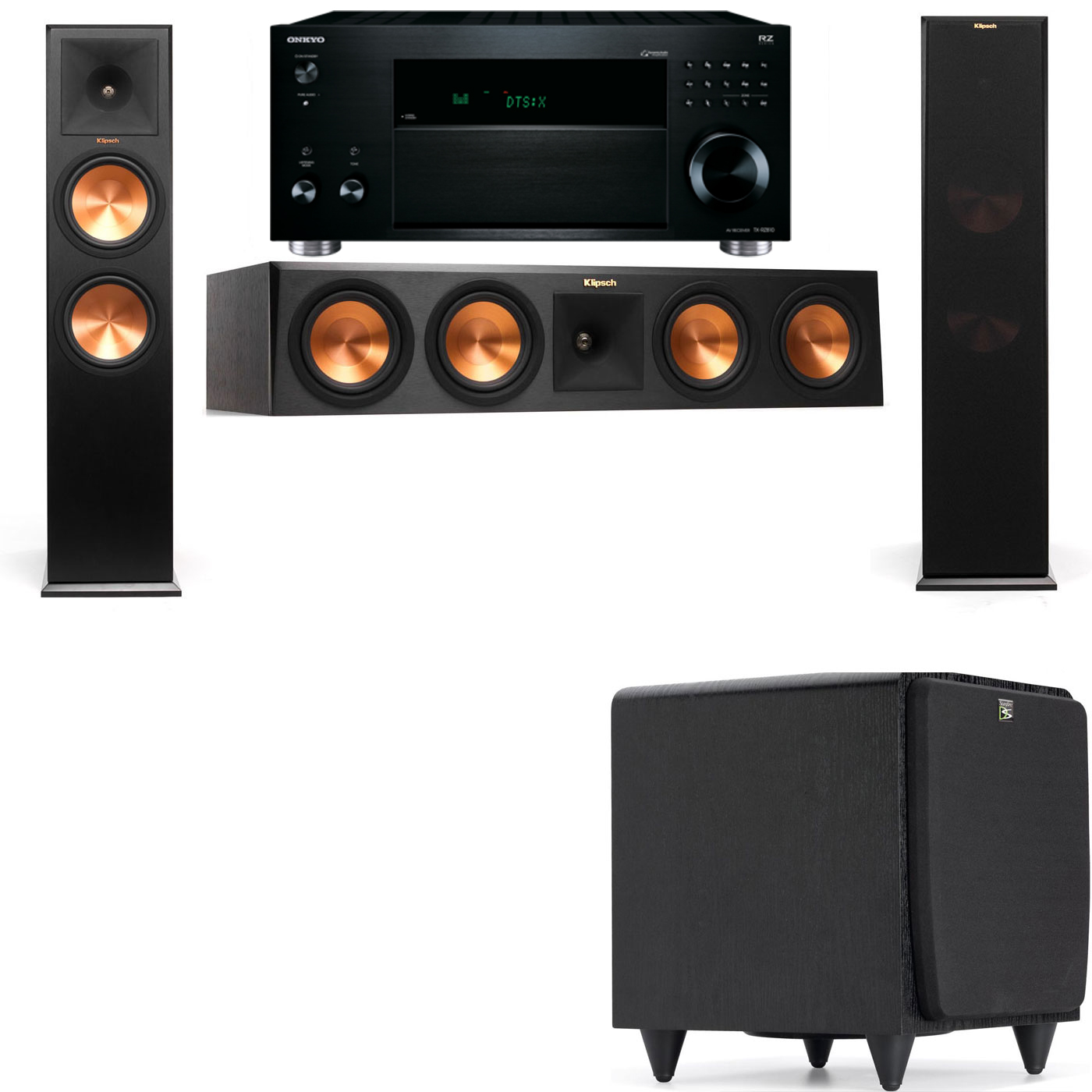 Klipsch RP-280F Tower Speakers-SDS12-3.1-Onkyo TX-RZ810