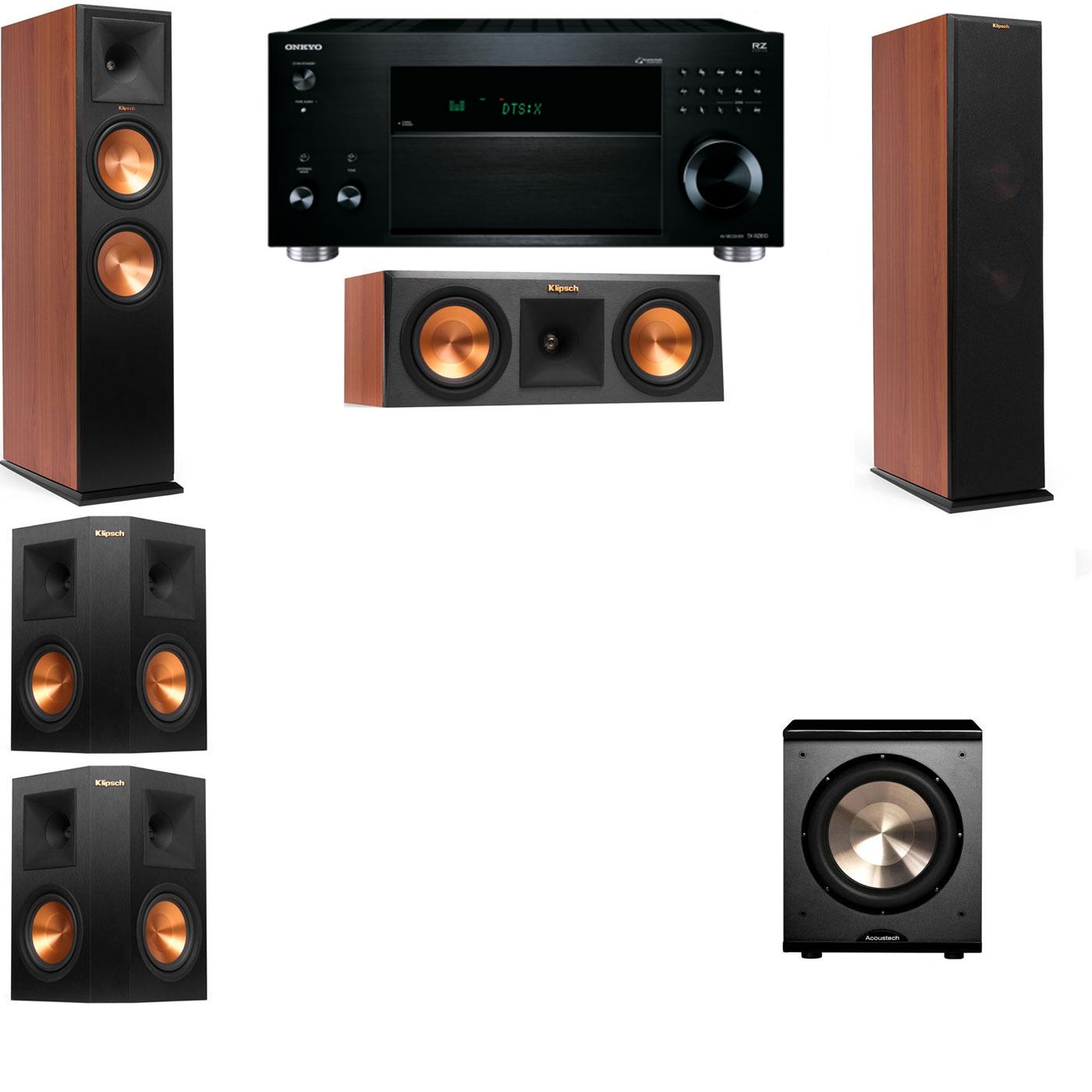 Klipsch RP-280F Tower Speakers CH-RP-250C-PL-200-5.1-Onkyo TX-RZ810