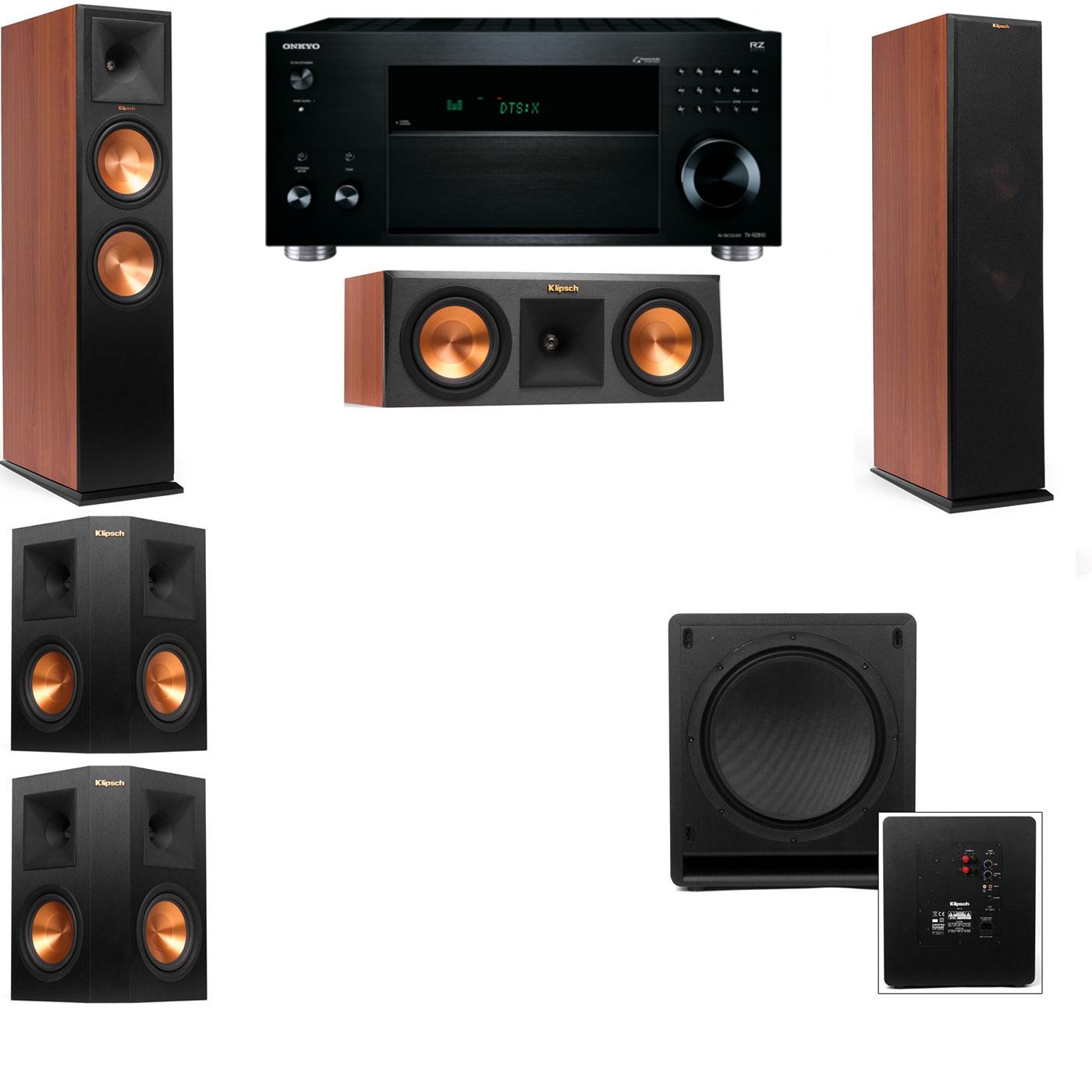 Klipsch RP-280F Tower Speakers CH-RP-250C-SW-112-5.1-Onkyo TX-RZ810