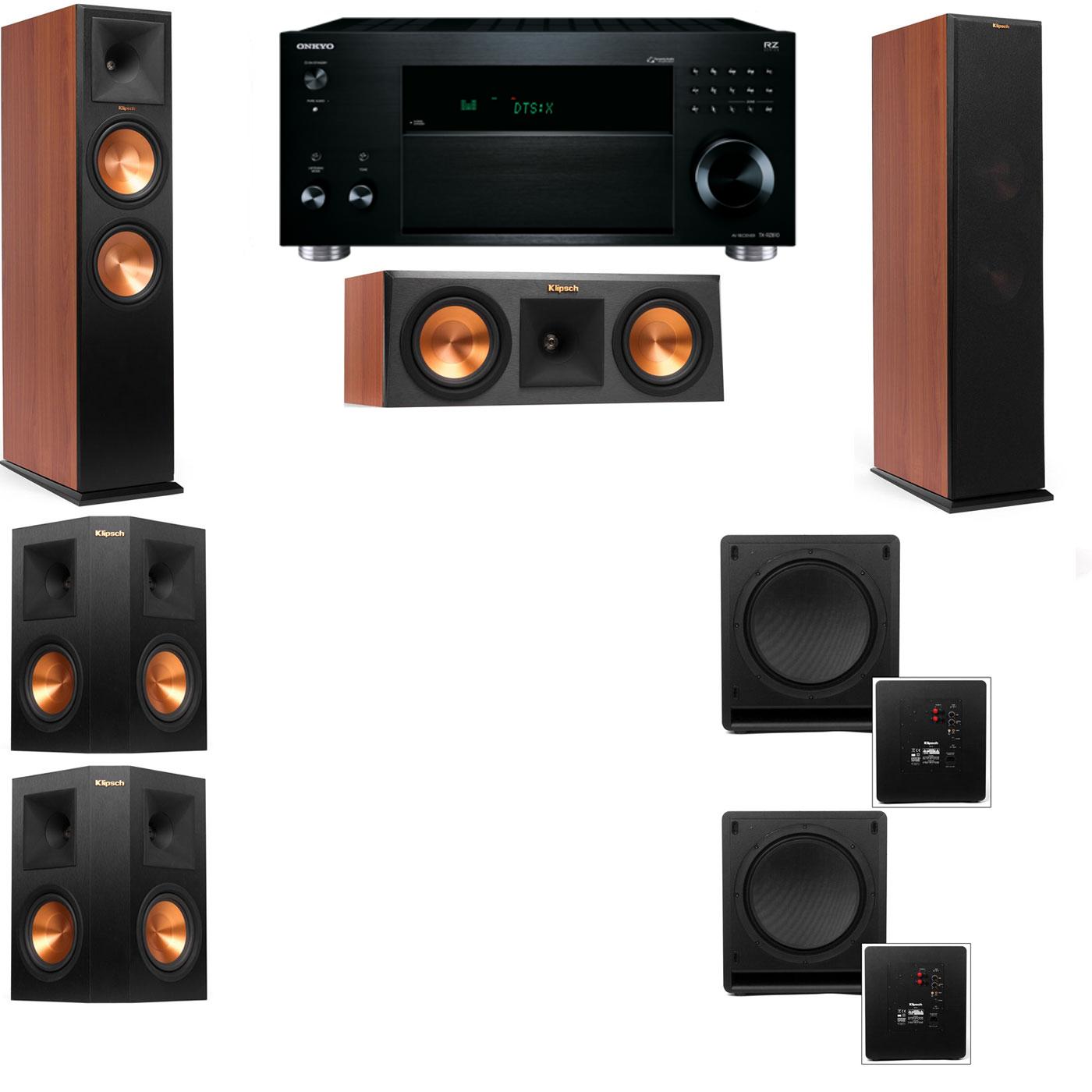 Klipsch RP-280F Tower Speakers CH-RP-250C-SW-112-5.2-Onkyo TX-RZ810