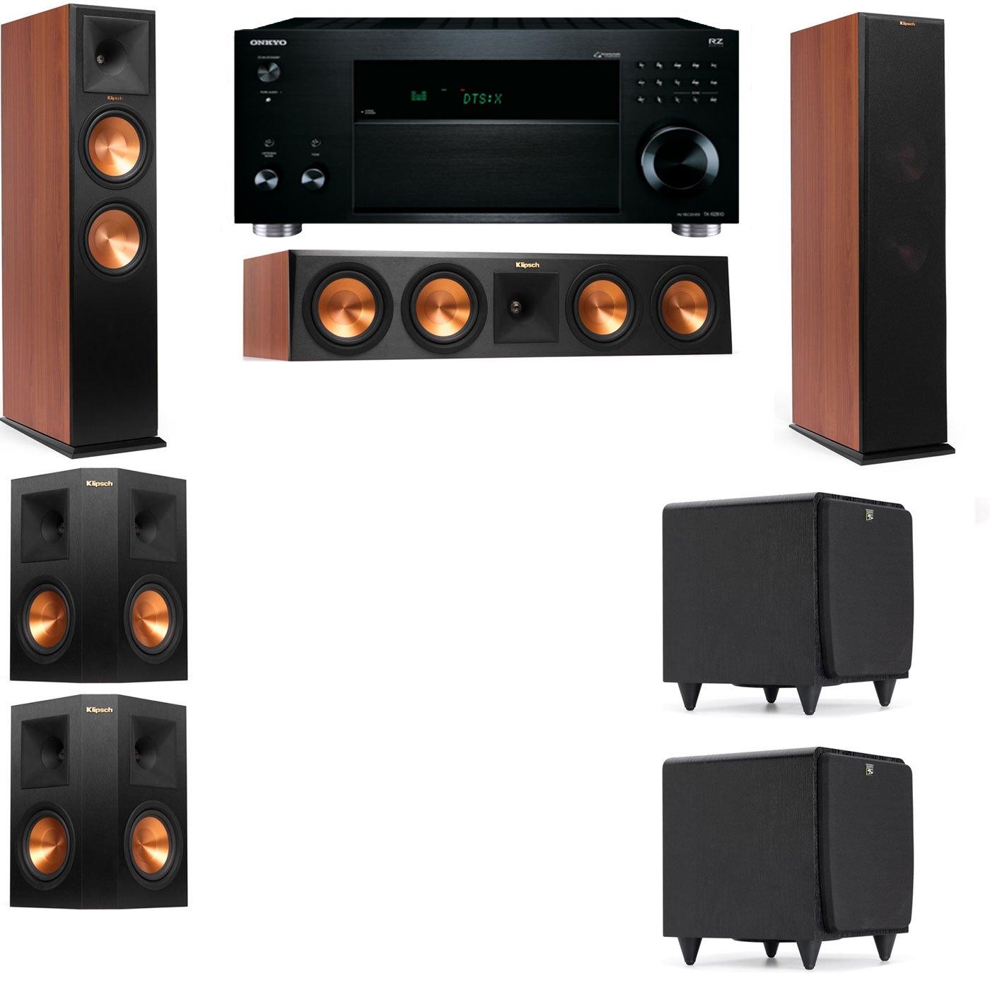 Klipsch RP-280F Tower Speakers CH-SDS12-5.2-Onkyo TX-RZ810