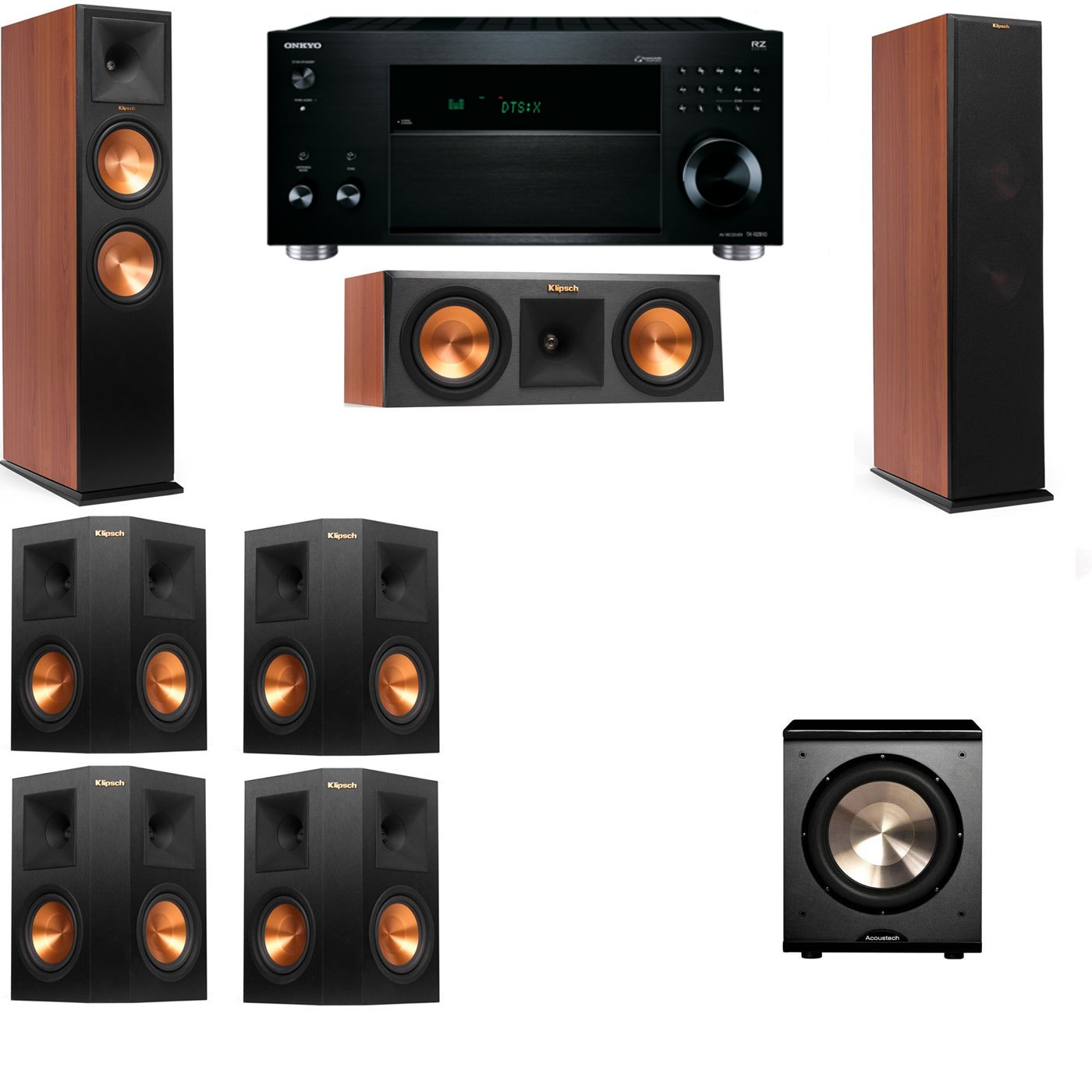 Klipsch RP-280F Tower Speakers CH-RP-250C-PL-200-7.1-Onkyo TX-RZ810