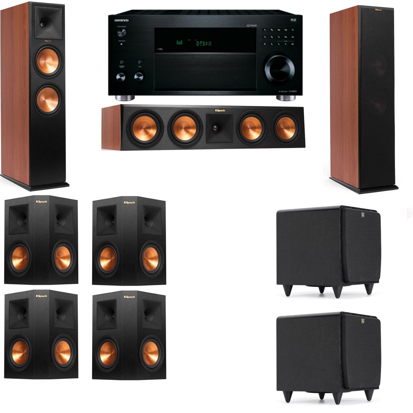 Klipsch RP-280F Tower Speakers CH-SDS12-7.2-Onkyo TX-RZ810