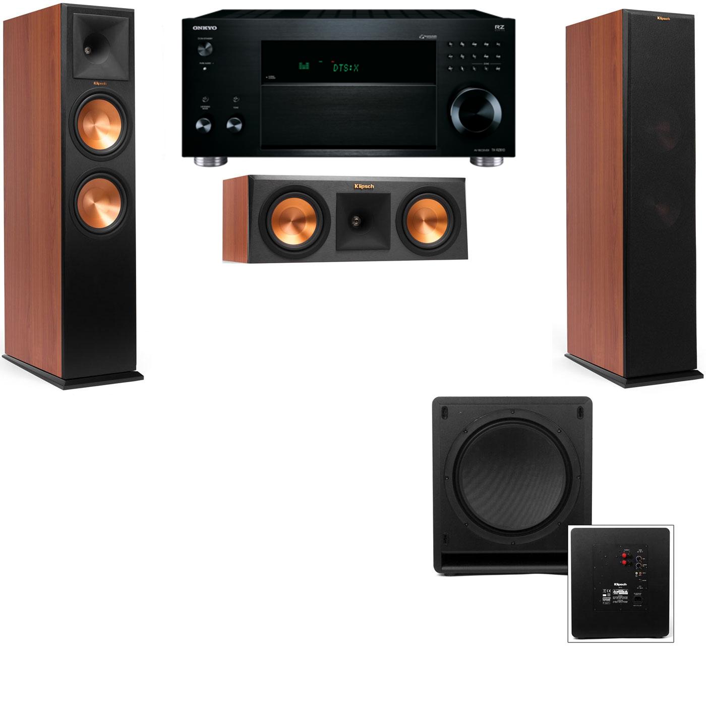 Klipsch RP-280F Tower Speakers CH-RP-250C-SW-112-3.1-Onkyo TX-RZ810