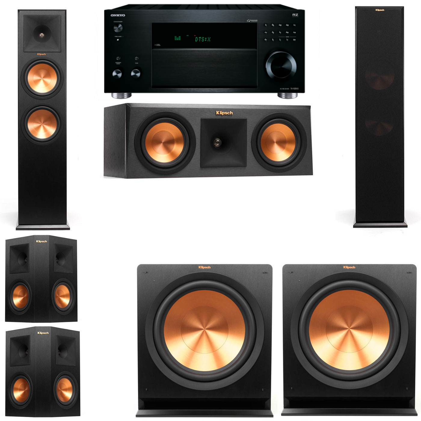 Klipsch RP-280F Tower Speakers-RP-250C-5.2-Onkyo TX-RZ810