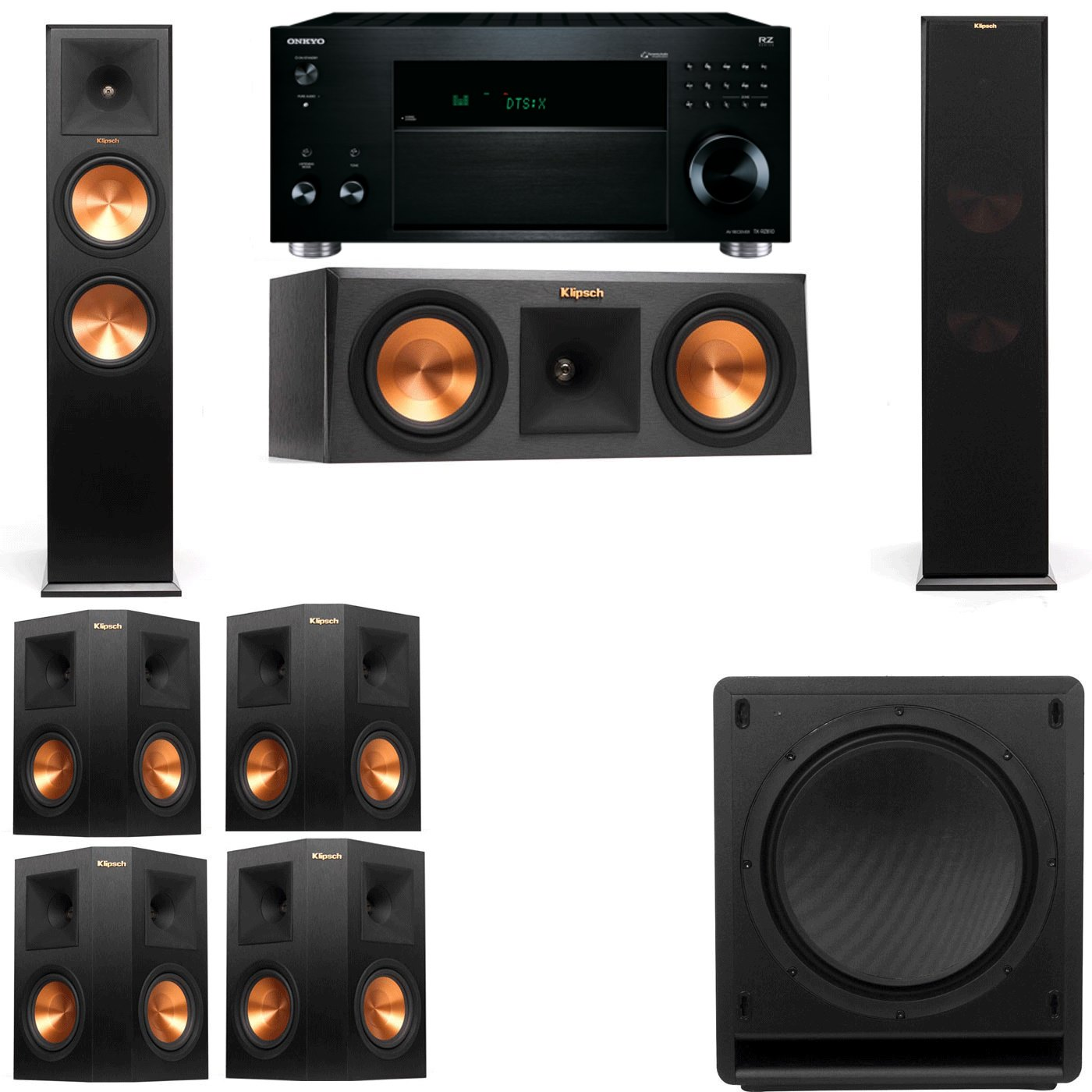 Klipsch RP-280F Tower Speakers-RP-250C-SW-112-7.1-Onkyo TX-RZ810