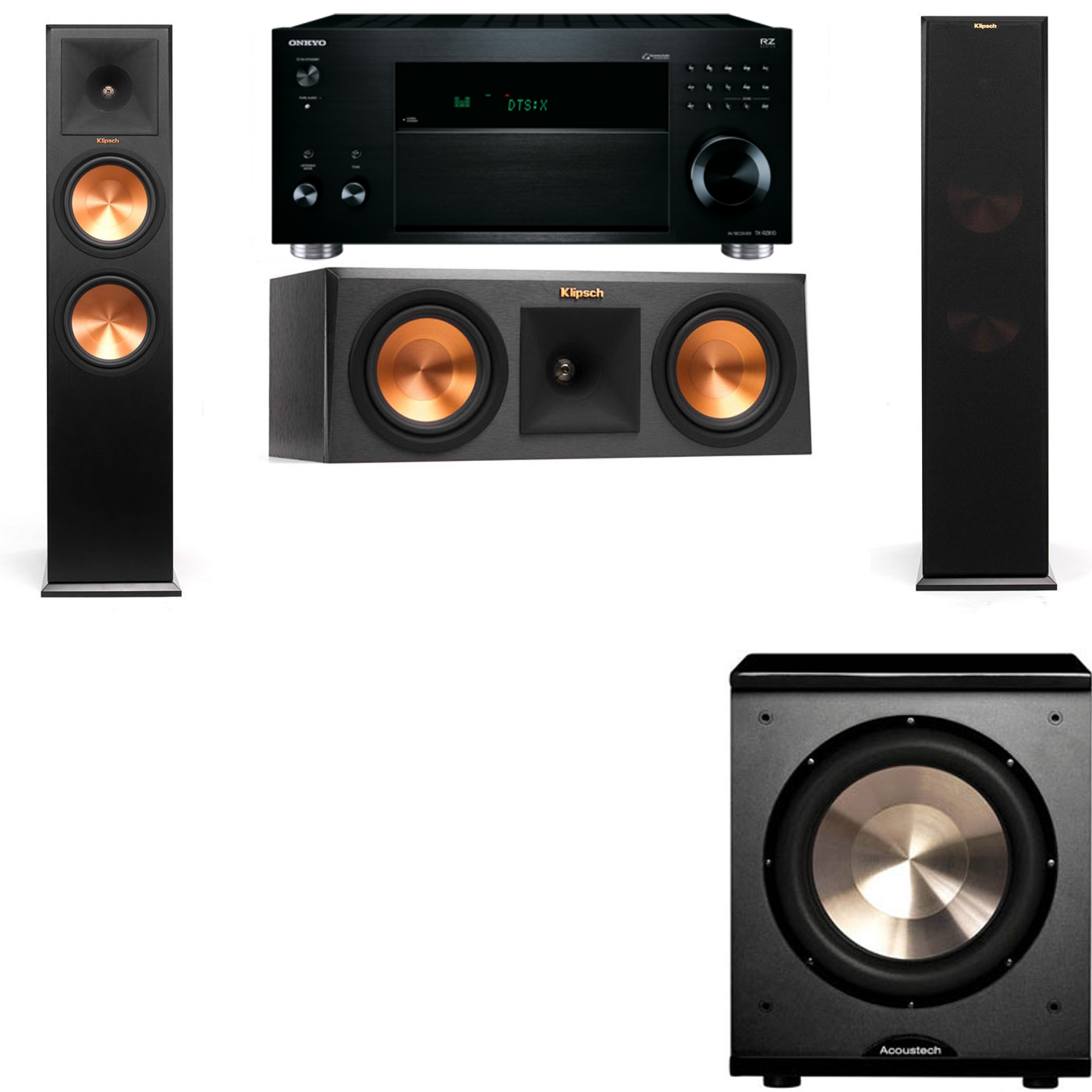 Klipsch RP-280F Tower Speakers-RP-250C-PL-200-3.1-Onkyo TX-RZ810