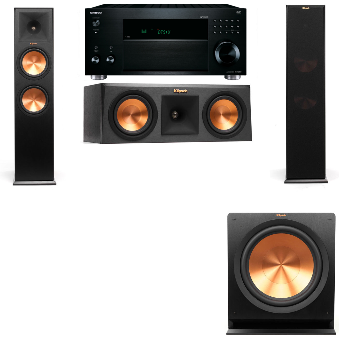 Klipsch RP-280F Tower Speakers-RP-250C-3.1-Onkyo TX-RZ810