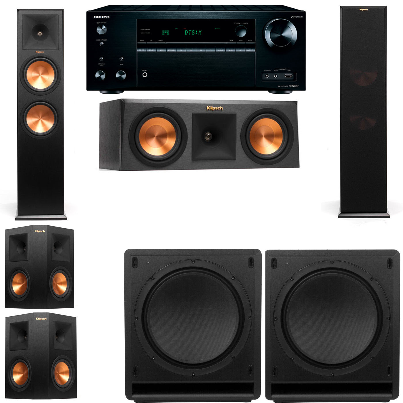 klipsch rp 280f tower speakers rp 250c sw 112 5 2 onkyo tx nr757 ebay. Black Bedroom Furniture Sets. Home Design Ideas