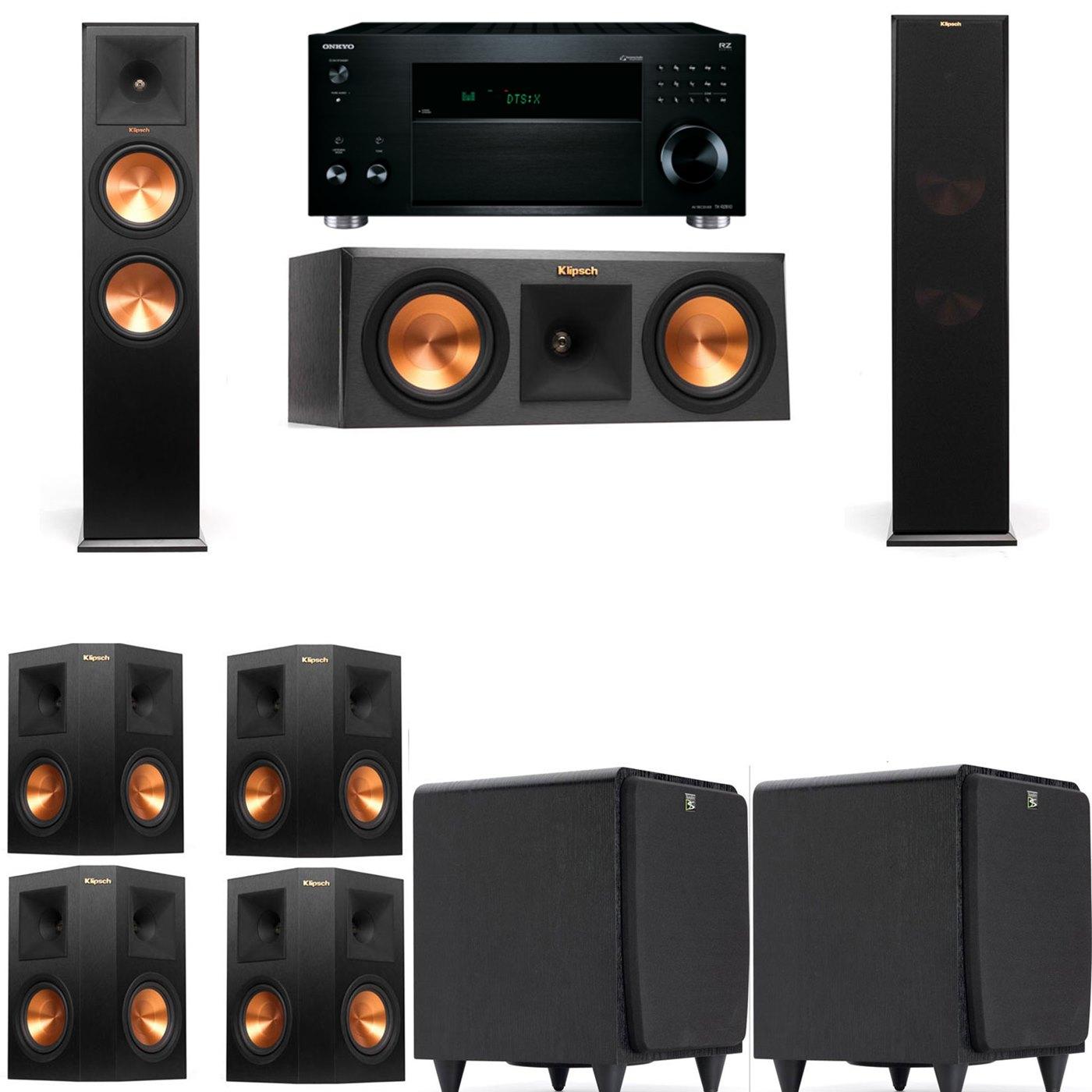 Klipsch RP-280F Tower Speakers-RP-250C-SDS12 -7.2-Onkyo TX-RZ810