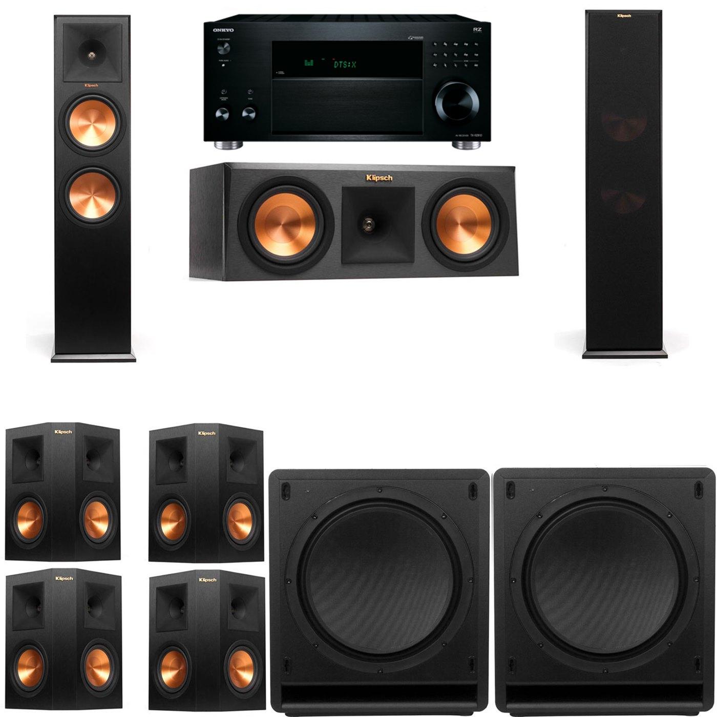 Klipsch RP-280F Tower Speakers-RP-250C-SW-112-7.2-Onkyo TX-RZ810